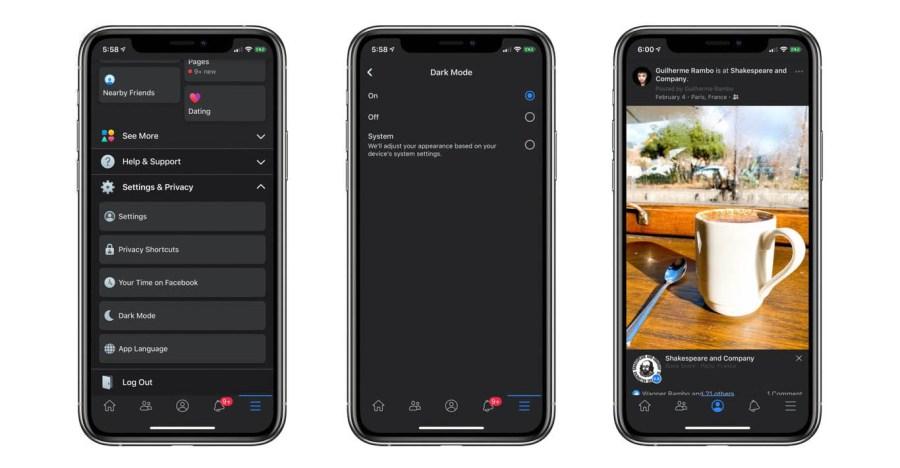 modo oscuro de Facebook en iPhone iPad