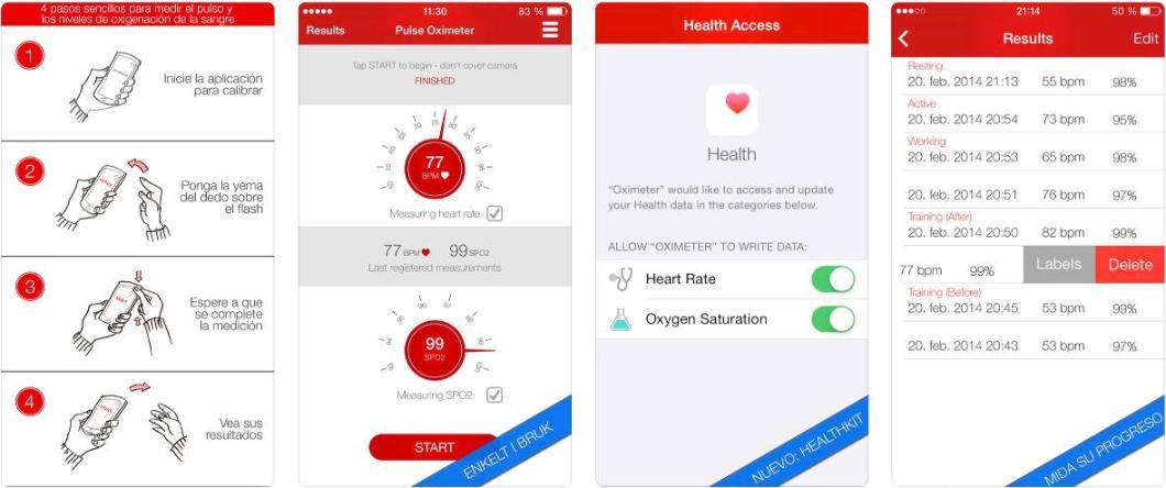 Supuesta app de oxímetro para iOS