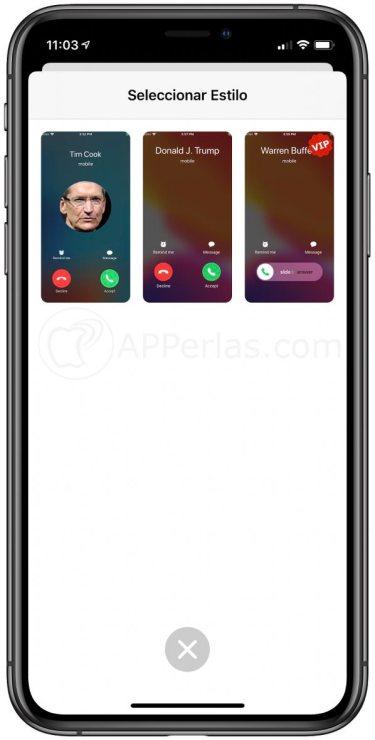 Elige el estilo de la pantalla de llamada