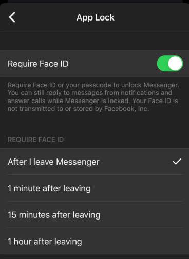facebook messenger faceid touchid