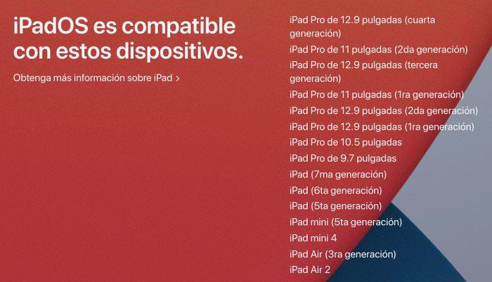 Listado oficial de iPad compatibles con iPadOS 14