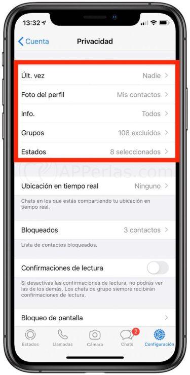 Ajustes de privacidad en WhatsApp