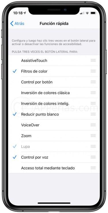 Configura las funciones rápidas del iPhone