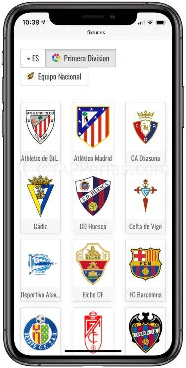 Calendarios equipos de fútbol