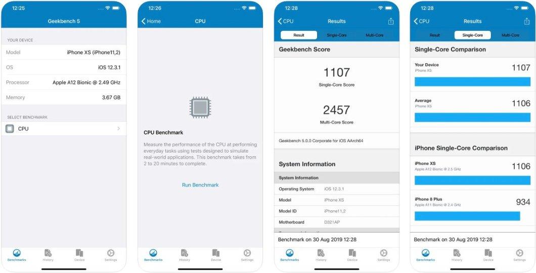 Analiza el iPhone con GeekBench 5