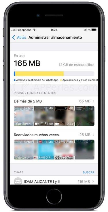 Gestión de almacenamiento en WhatsApp