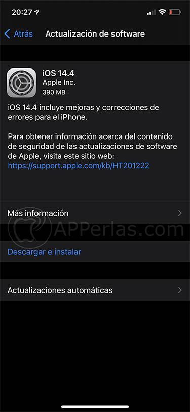 La pestaña de actualización de iOS