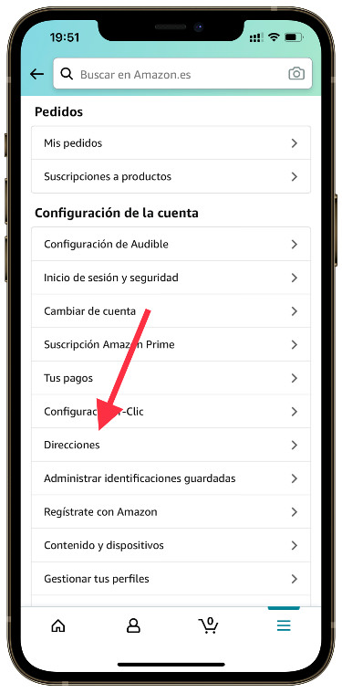 addresses in the Amazon app 1