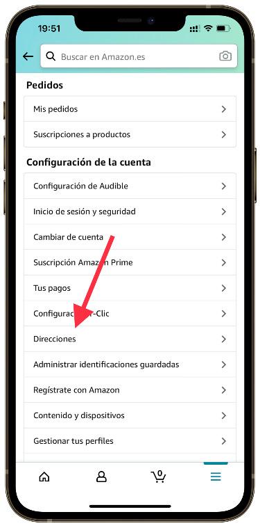 direcciones en la app de Amazon 1