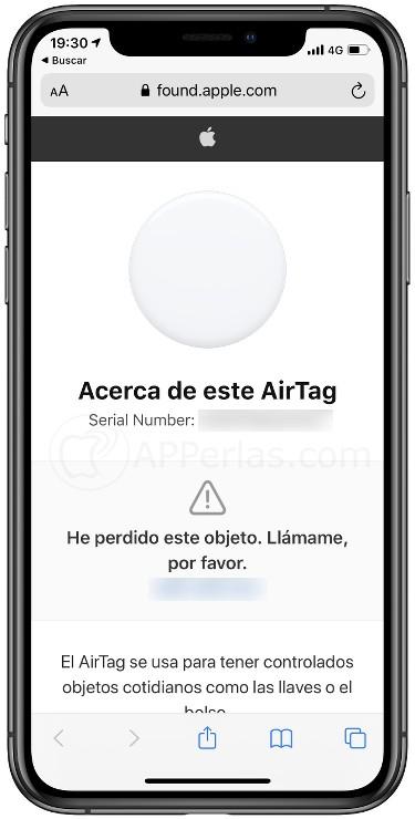Información del propietario del Airtag perdido