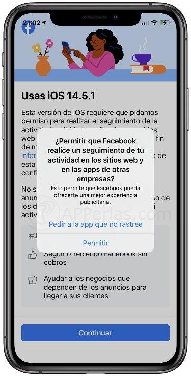 Permitir o no el rastreo de Facebook