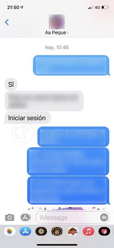 Interfaz iMessage en iOS 15