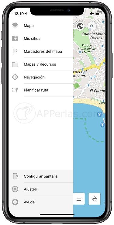 Menú de esta app de mapas sin conexión para viajar