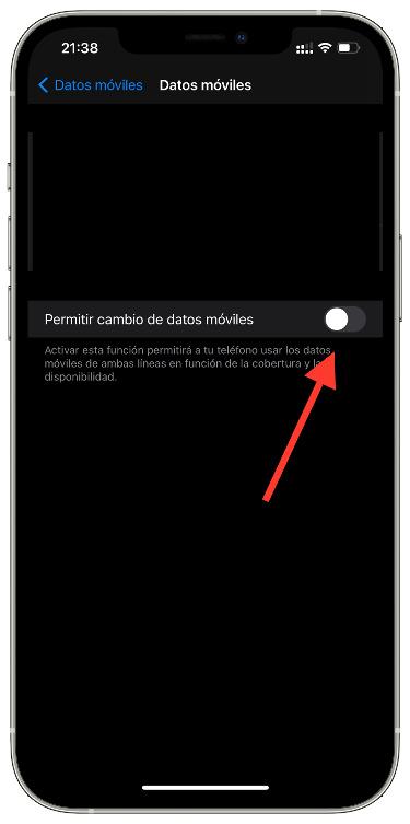 datos móviles en el iPhone 1
