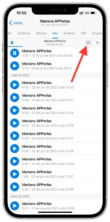 velocidad de los audios de Telegram 1