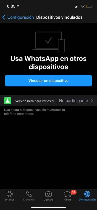 Función multidispositivo sin la beta de WhatsApp