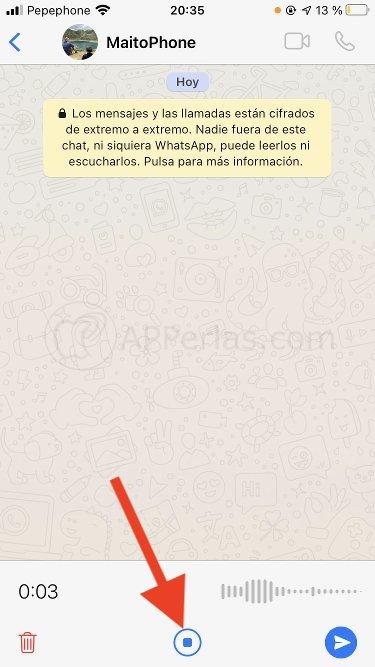 Botón parar grabación audio en WhatsApp