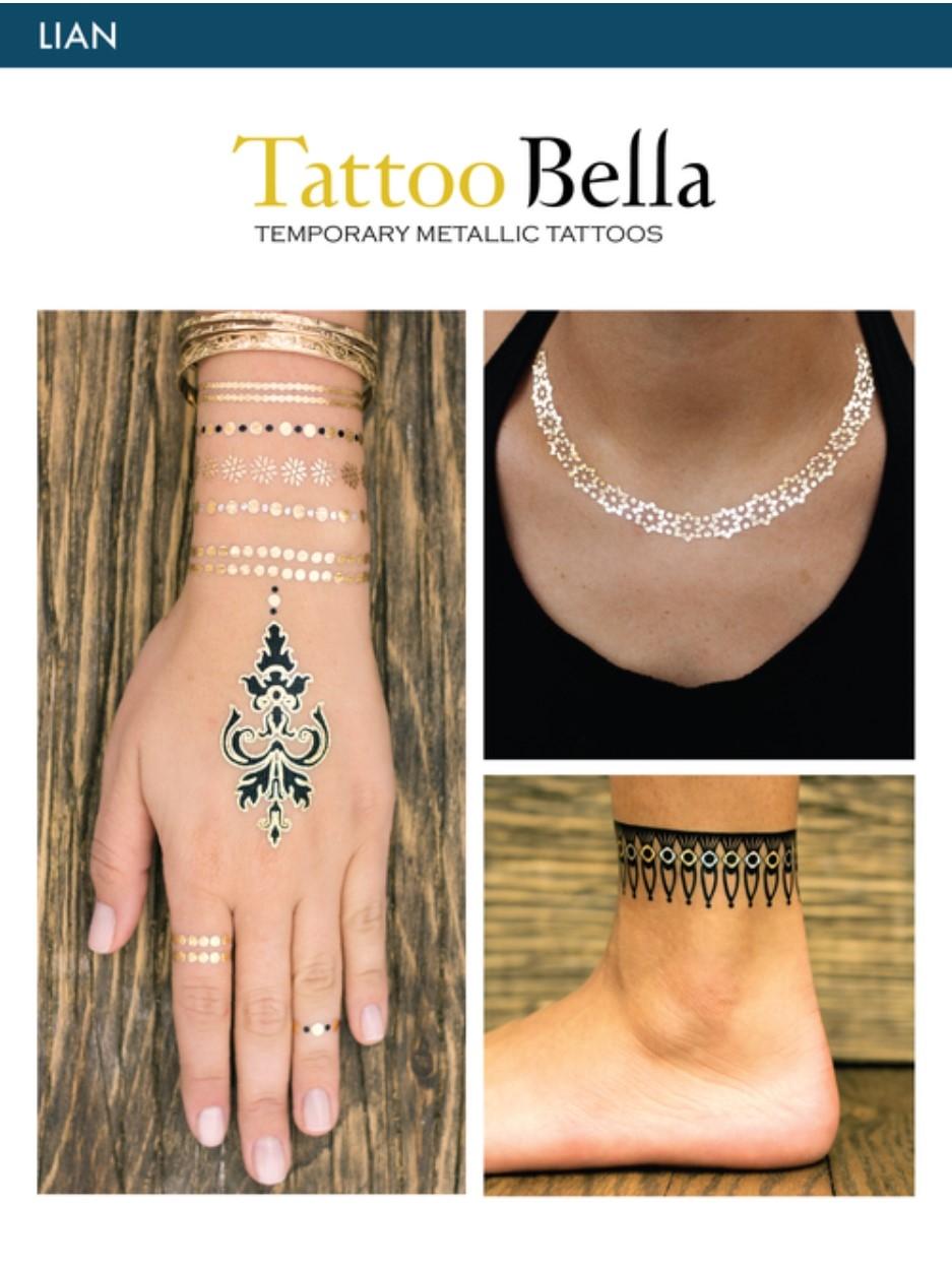 Metallic Tattoo : metallic, tattoo, Tattoo, Bella, Temporary, Metallic, Tattoos, Collection