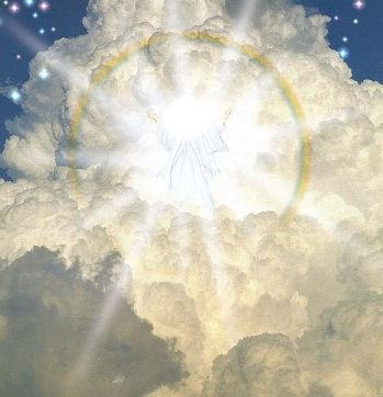 de Heer Jezus komt terug op de wolken...