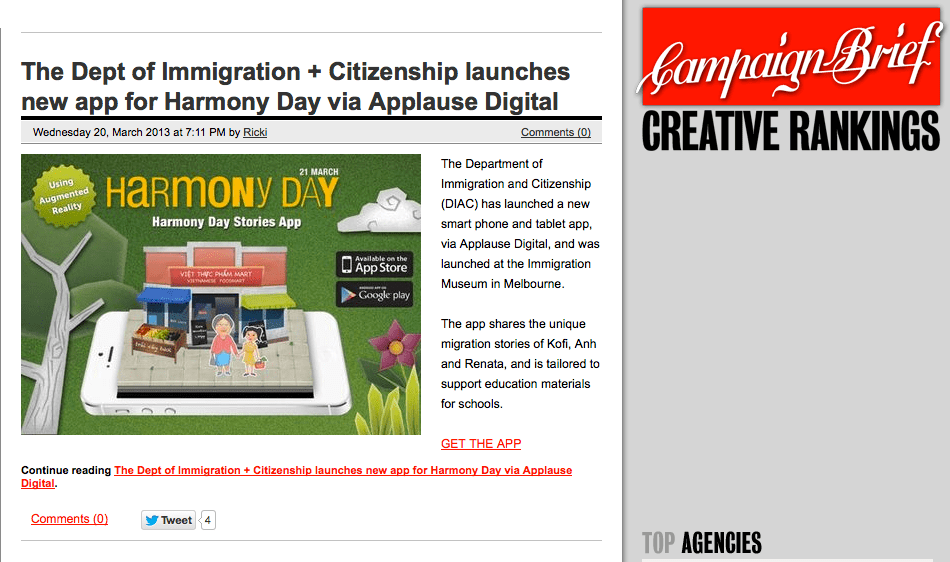 Harmony Day Stories Augmented Reality App Publicity