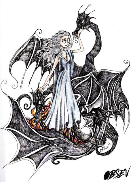Game of Thrones Tim Burton Danerys Targaryen dragón