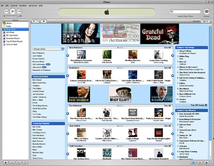 iTunes Music Store 2003