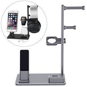 6 in 1 Aluminum Alloy Charging Dock Stand Holder Station for Headphones AirPods iPad Apple Watch iPhone(Grey)