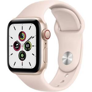 Apple Watch SE GPS + Cellular 40 mm Aluminium kast Rose gold Sportband Pink Sand