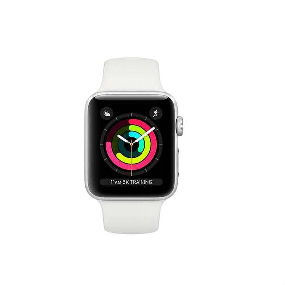 Apple Watch Series 3 - 38mm Kast van Zilver Aluminium met Wit Sportbandje + 3D Gebogen Gehard Glas Screenprotector - MTEY2
