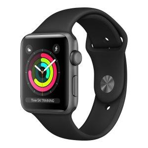 Apple Watch Series 3 38mm Space Grey aluminium - Zwart sportbandje