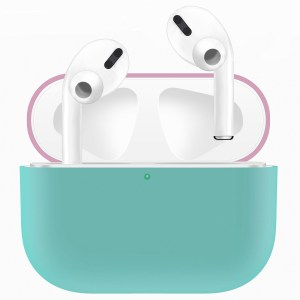 Voor Apple AirPods Pro tweekleuren draadloze oortelefoon beschermhoes (roze groen)