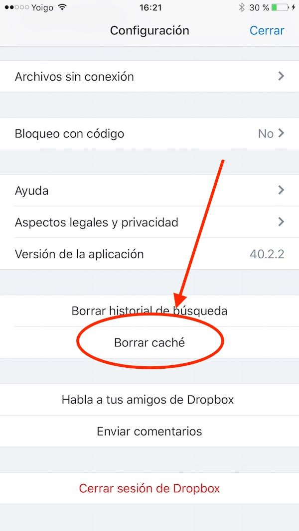 Cómo eliminar la caché de Dropbox en iPhone y iPad