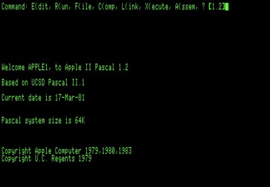 Apple Pascal 1.2 startup