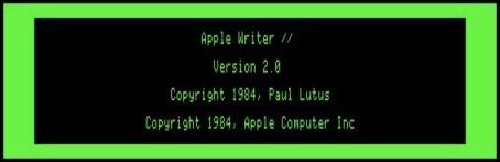 Apple Writer 2.0 splash screen