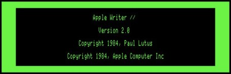 Apple Writer 2.0 splash screen