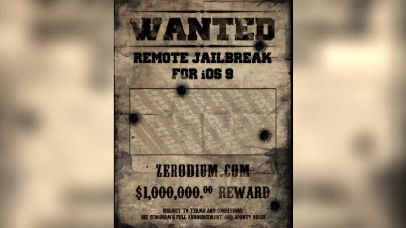 جائزة زيروديوم 1 مليون دولار لأول جيلبريك iOS 9