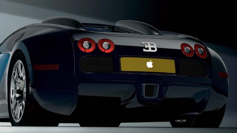 سيارة بوجاتي بلوحة Apple