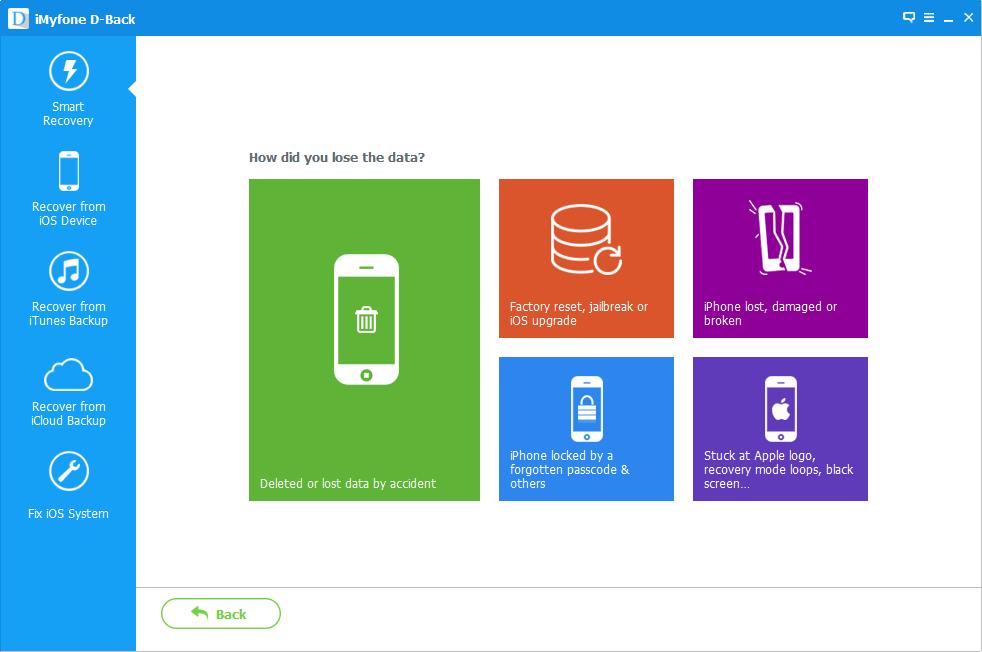 واجهة برنامج استعادة ملفات الايفون iMyfone D-Back