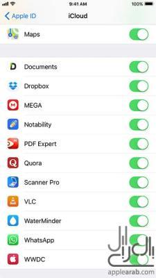 إعدادات iCloud لتطبيقات الطرف الثالث في iOS 11