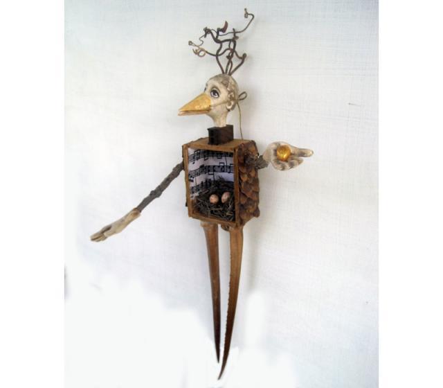 Woodland Bird Figure mixed media wood art doll sculpture