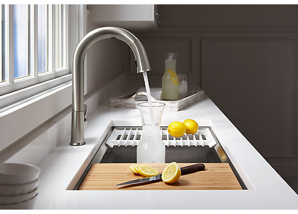 kohler kitchen sink faucets design your own layout ces 2018 s new sensate faucet and dtv shower a spokeswoman for told macrumors that its touchless system will be the first of konnect products to