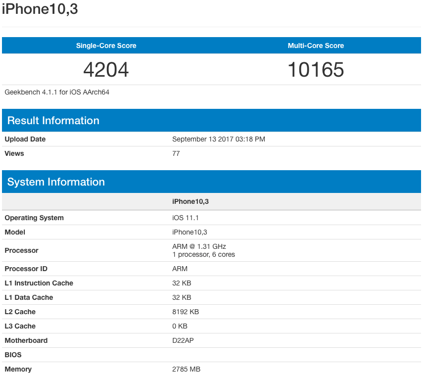 iphone 8 geekbench