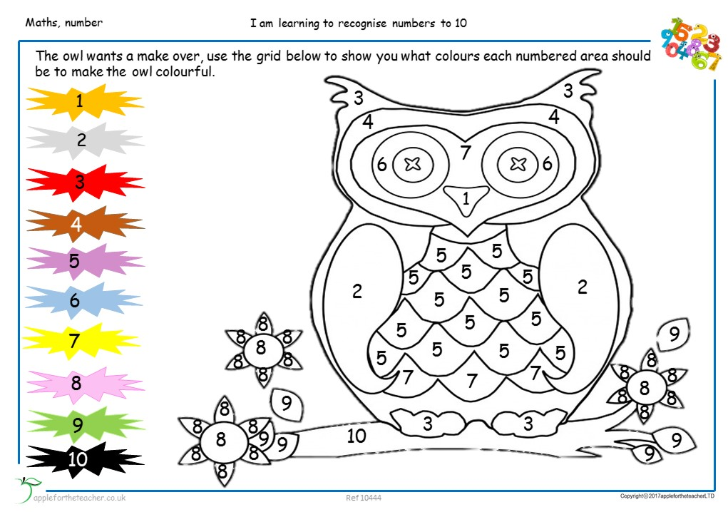 Colour By Numbers To 10 Apple For The Teacher Ltd