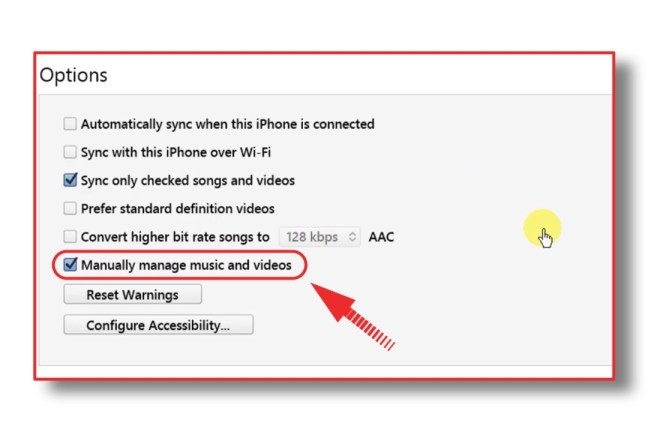 iphone sync manually manage music and videos