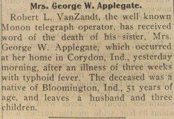 Death of Anna Van Zandt Applegate, 1899
