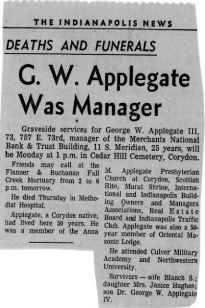 Geo Wm Applegate III (Pud) obituary (1900-1973)