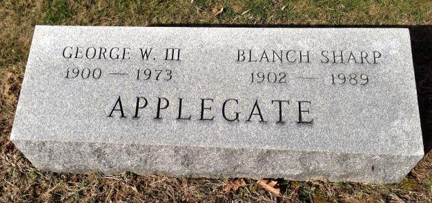Geo Wm Applegate III and Blanch Sharpe Applegate headstone