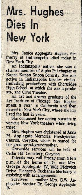 Obituary of Janice Applegate (1926-1979)