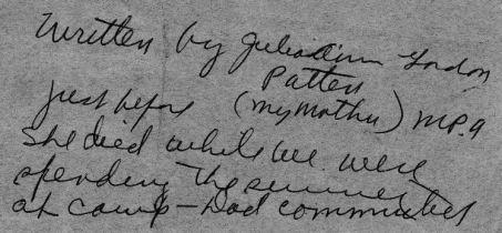 Explanation of note written by Julia Ann Gordon Patten shortly before she died
