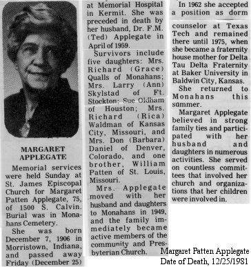 Maggie's obituary, 1981